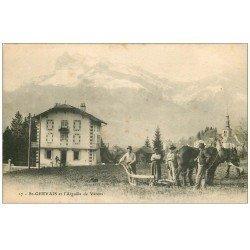 carte postale ancienne 74 SAINT-GERVAIS-LES-BAINS. Paysans au labourage et Aiguille de Varens vers 1900