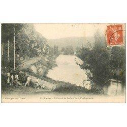 carte postale ancienne 14 CLECY. Ouvriers Terrassiers et les Rochers de la Cambronnerie 1915