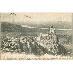 carte postale ancienne 26 CHATEAU DE CRUSSOL 1901. Ruines et Rhône. Tampon en relief