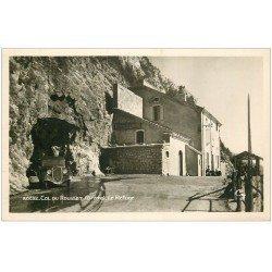 carte postale ancienne 26 COL DU ROUSSET. Lr Refuge voiture Traction avant. Carte Photo émaillographie