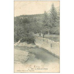 carte postale ancienne 26 DIE. Pêcheur bords de la Drôme 1905