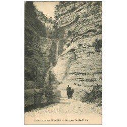 carte postale ancienne 26 FORET DE LENTE. Personnage Gorges de Saint-May 1922