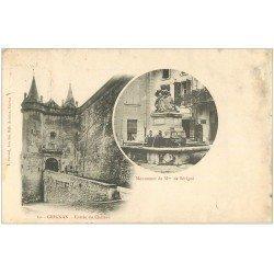 carte postale ancienne 26 GRIGNAN. 1904 Monument Sévigné et Château