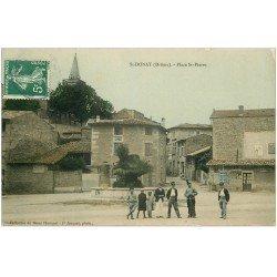 carte postale ancienne 26 SAINT-DONAT. Place Saint-Pierre 1908. Carte émaillographie