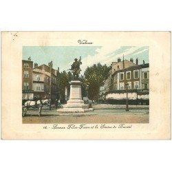 carte postale ancienne 26 VALENCE. Avenue Félix-Faure Statue de Bancel. Café Grenoble