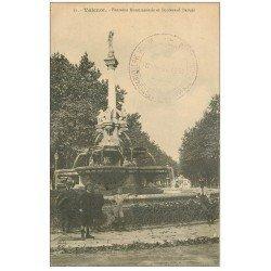 carte postale ancienne 26 VALENCE. Fontaine et Enfants Boulevard Bancel. Tampon Militaire