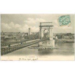 carte postale ancienne 26 VALENCE. Le Pont suspendu 1903