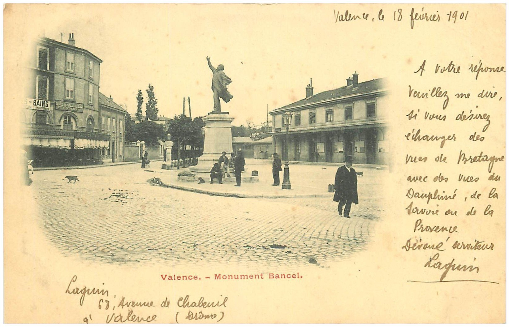 carte postale ancienne 26 VALENCE. Monument Bancel 1901