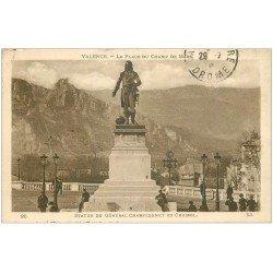 carte postale ancienne 26 VALENCE. Place Champ de Mars. Statue de Championnet et Crussol 1923