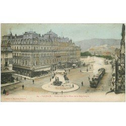 carte postale ancienne 26 VALENCE. Place de la République 1907. Train Tramway à vapeur