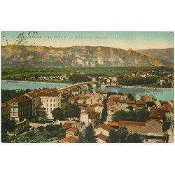 carte postale ancienne 26 VALENCE. Pont et Rocher de Crussol