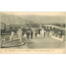 carte postale ancienne 26 VALENCE. Pont et Ruines de Crussol de l'Esplanade 1923