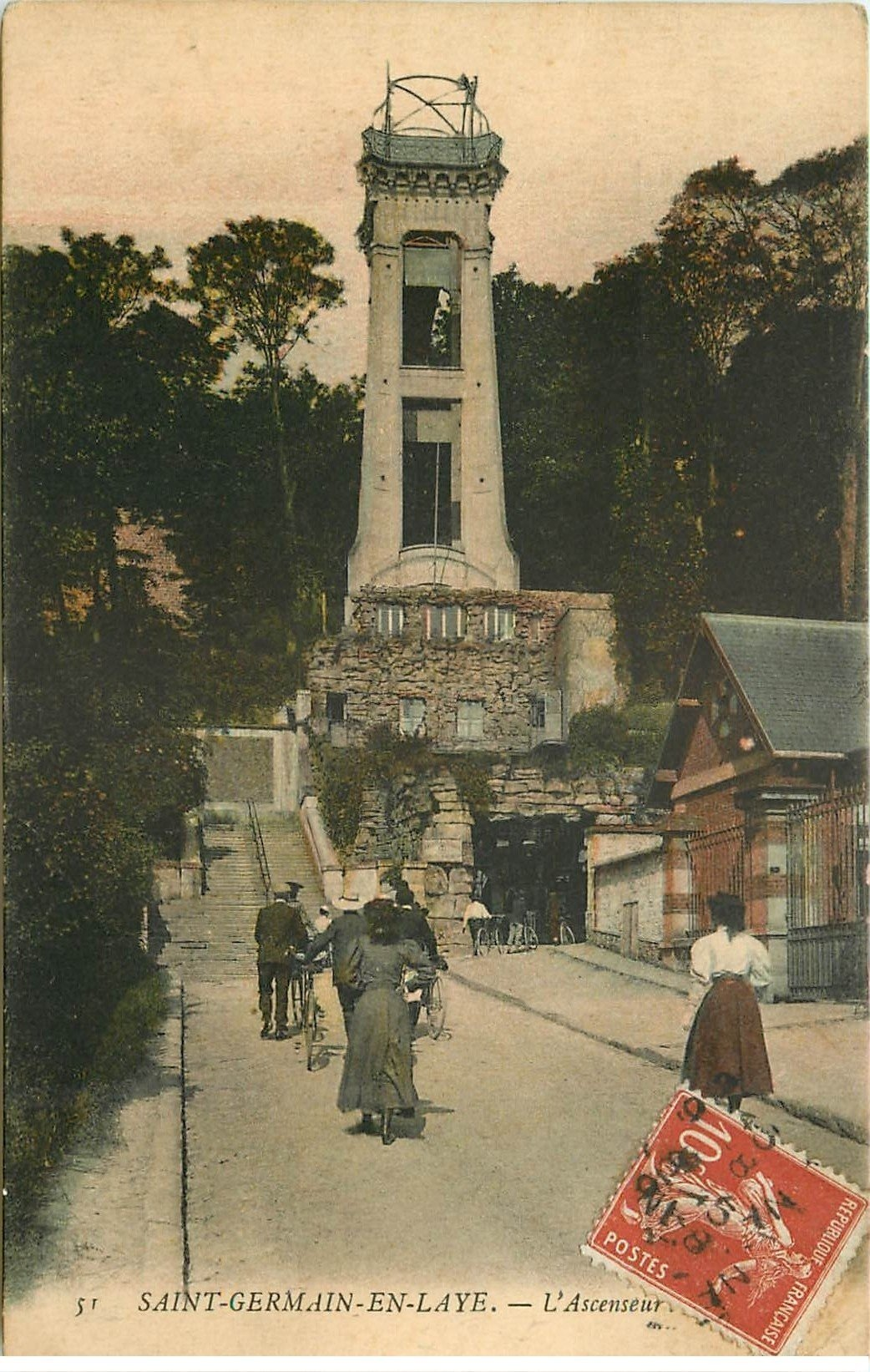 carte postale ancienne 78 SAINT-GERMAIN-EN-LAYE. L'Ascenseur 1909