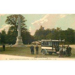 carte postale ancienne 78 SAINT-GERMAIN-EN-LAYE. Auto Omnibus à la Croix de Noailles