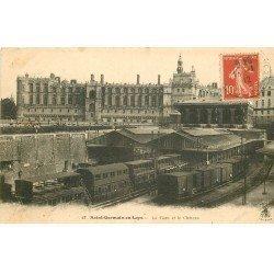 carte postale ancienne 78 SAINT-GERMAIN-EN-LAYE. La Gare avec Trains 1912 et Château