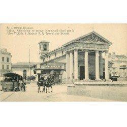 carte postale ancienne 78 SAINT-GERMAIN-EN-LAYE. Tramway à vapeur et Gendarmes à Cheval. L'Eglise