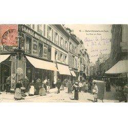 carte postale ancienne 78 SAINT-GERMAIN-EN-LAYE. La Rue au Pain 1905 Grande Maison du Deuil