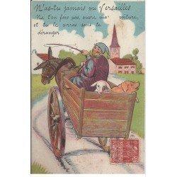 carte postale ancienne 78 VERSAILLES. Carte montage Fantaisie ave 8 mini-vues dans la Charette 1931