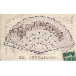 carte postale ancienne 78 VERSAILLES. Carte Fantaisie avec éventail et paillettes collées dessus 1906