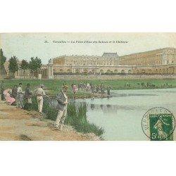 carte postale ancienne 78 VERSAILLES. Pêcheurs à la Pièce d'eau des Suisses 1907