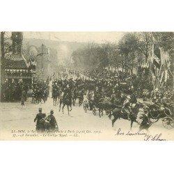 carte postale ancienne 78 VERSAILLES. Roi et Reine Italie. Cortège Royal en 1903