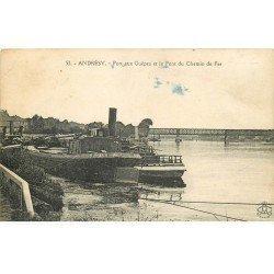 carte postale ancienne 78 ANDRESY. Port aux Guêpes et Pont du Chemin de Fer