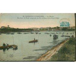 carte postale ancienne 78 ANDRESY CONFLANS. La Pêche en barques 1925