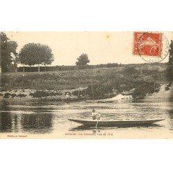 carte postale ancienne 78 ACHERES. La Cascade et Pêcheurs en barque 1914