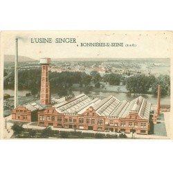 carte postale ancienne 78 BONNIERES-SUR-SEINE. L'Usine Singer