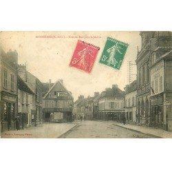 carte postale ancienne 78 BONNIERES-SUR-SEINE. Grande Rue. Comptoirs Français et publicité Pirelli