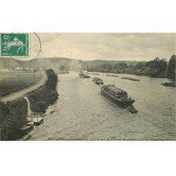 carte postale ancienne 78 BONNIERES-SUR-SEINE. Train de Péniches Coteaus de Jeufosse 1907