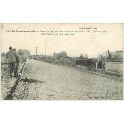 carte postale ancienne 02 FLAVY-LE-MARTEL. Route en ruine 1919