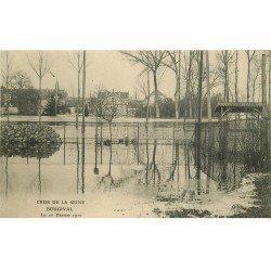 carte postale ancienne 78 BOUGIVAL. Crue de la Seine de 1910. Publicité Maggi