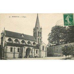 carte postale ancienne 78 BOUGIVAL. L'Eglise animée 1911