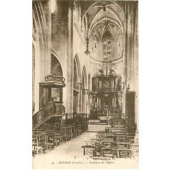 carte postale ancienne 78 HOUDAN. L'Eglise intérieur 1953