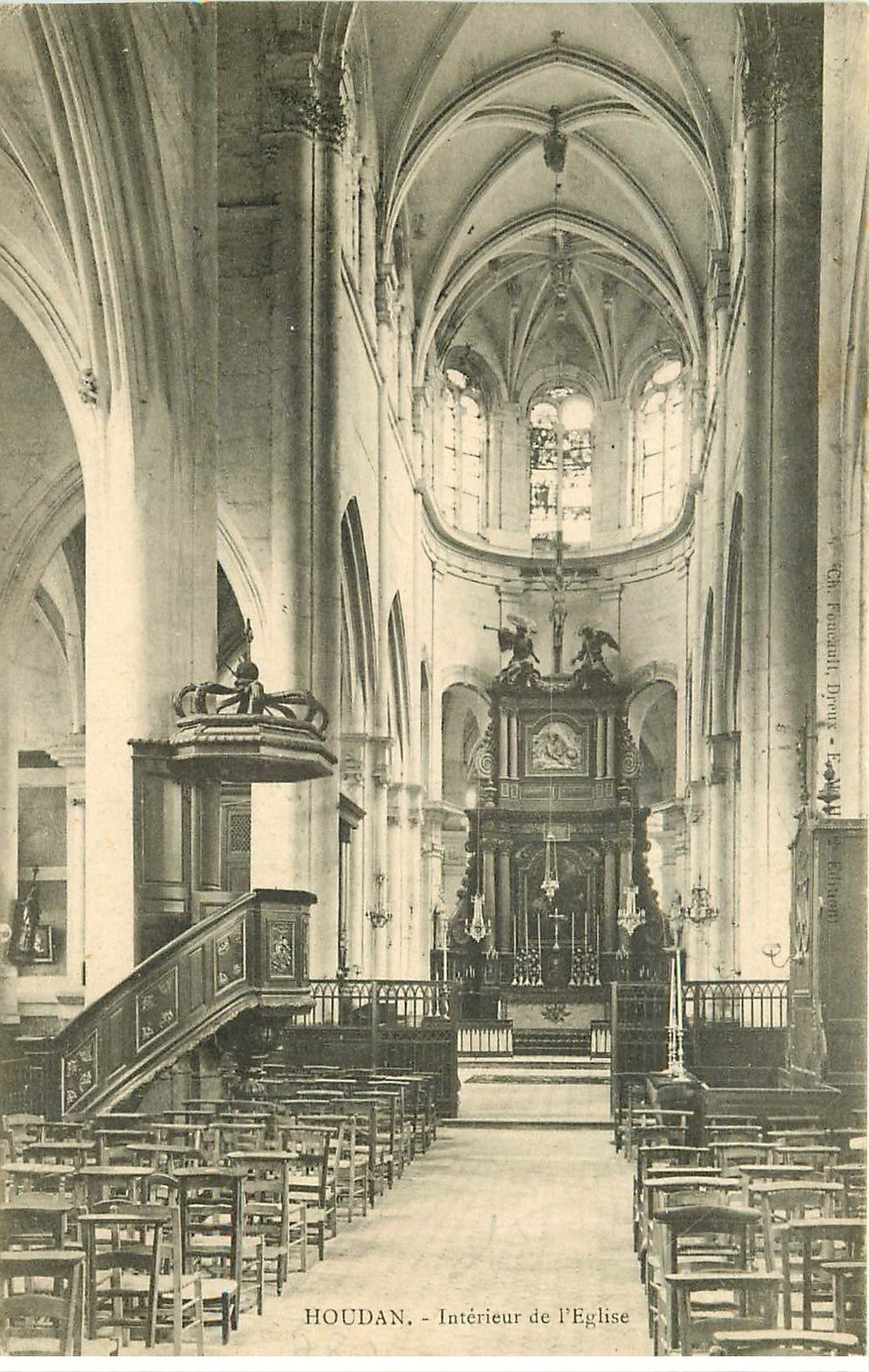 78 houdan l 39 eglise int rieur vers 1907 for Interieur 78