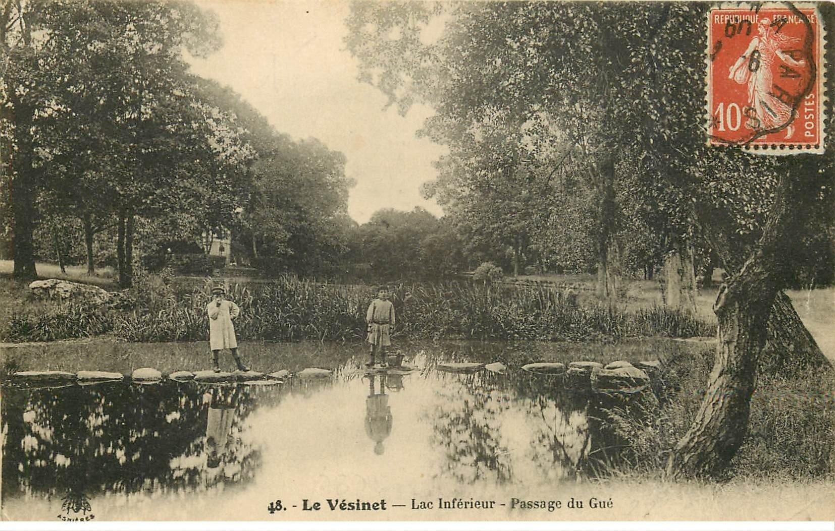 carte postale ancienne 78 LE VESINET. Passage du Gué Lac