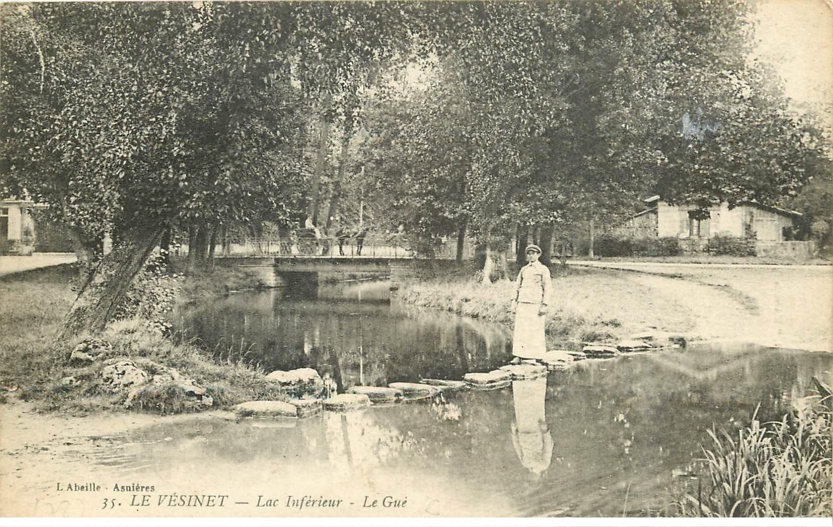 carte postale ancienne 78 LE VESINET. Passage du Gué Lac 1918