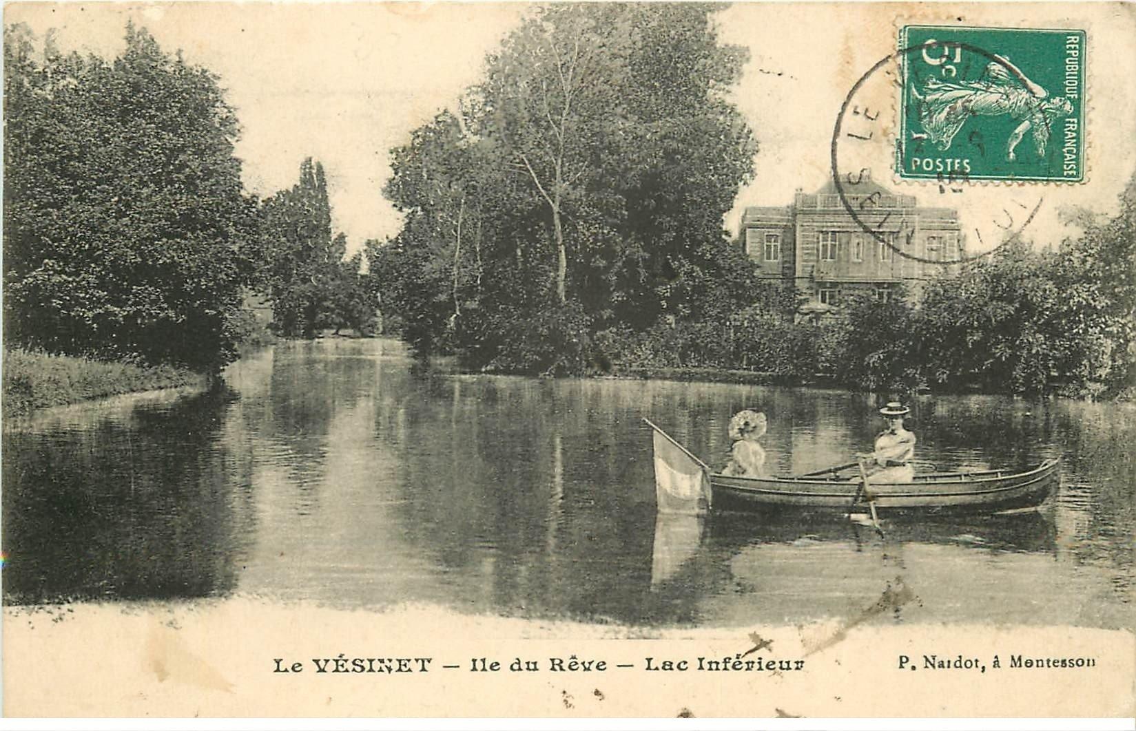 carte postale ancienne 78 LE VESINET. Lac Île du Rêve 1910 Canotier