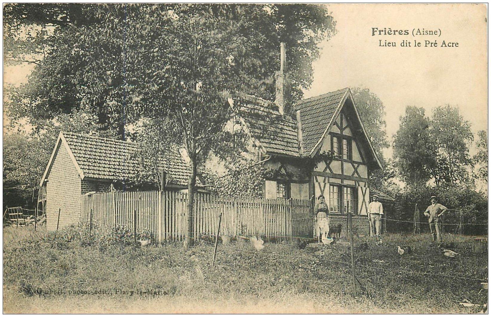 carte postale ancienne 02 FRIERES. Lieu dit le Pré Acre 1911