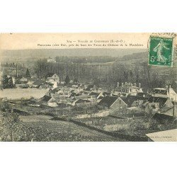 carte postale ancienne 78 CHEVREUSE. Panorama 1912 tampon Hôtel Gerbe d'Or