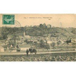 carte postale ancienne 78 CHEVREUSE. Cultivateur et son Cheval dans les Champs 1910