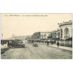 carte postale ancienne 14 DEAUVILLE. Casino Boulevard de la Mer belles voitures