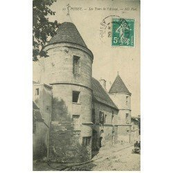 carte postale ancienne 78 POISSY. L'Abbaye 1909 Tourset voiture ancienne