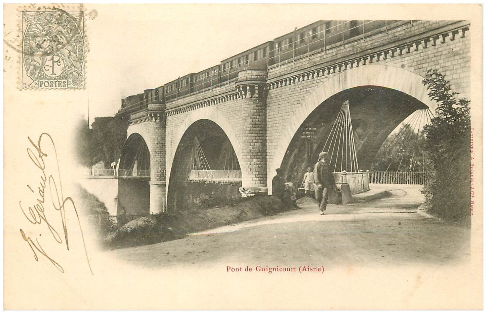 carte postale ancienne 02 GUIGNICOURT. 1903 Train sur le Pont