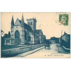 carte postale ancienne 14 DIVES. L'Eglise 1924 Attelage. Plissure coin