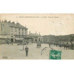 carte postale ancienne K. 78 SAINT-GERMAIN-EN-LAYE. Place du Château 1910 Café du Débarcadère