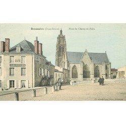 carte postale ancienne 79 BRESSUIRE. Café Baudoin Place du Champ de Foire