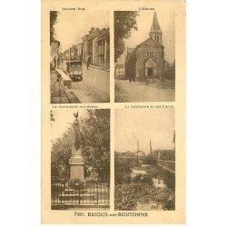 carte postale ancienne 79 BRIOUX SUR BOUTONNE. Grande Rue Eglise Monument et Ponts