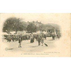 carte postale ancienne 79 LEZAY. Le Marché Place aux Halles 1904